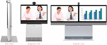 Cisco TelePresence Profile series, 3 images. One side on, second single screen, third dual screen.