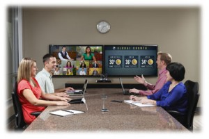 LifeSize Icon in meeting room with dual screens and persons sat around near and far end tables.