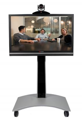 Polycom HDX7000 Video Conferencing System on stand with screen and camera