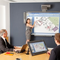 Smart Meeting Pro and Smart Podium in use in business meeting