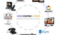 VideoCentric and Pexip. Bringing teams together. Circle of example of video conferencing endpoints, Microsoft Lync and WebRTC logos