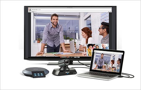Lifesize Icon Flex Video Conferencing endpoint with screen, laptop and Lifesize touchphone