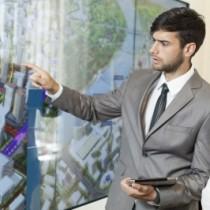 Man Training woman with presentation