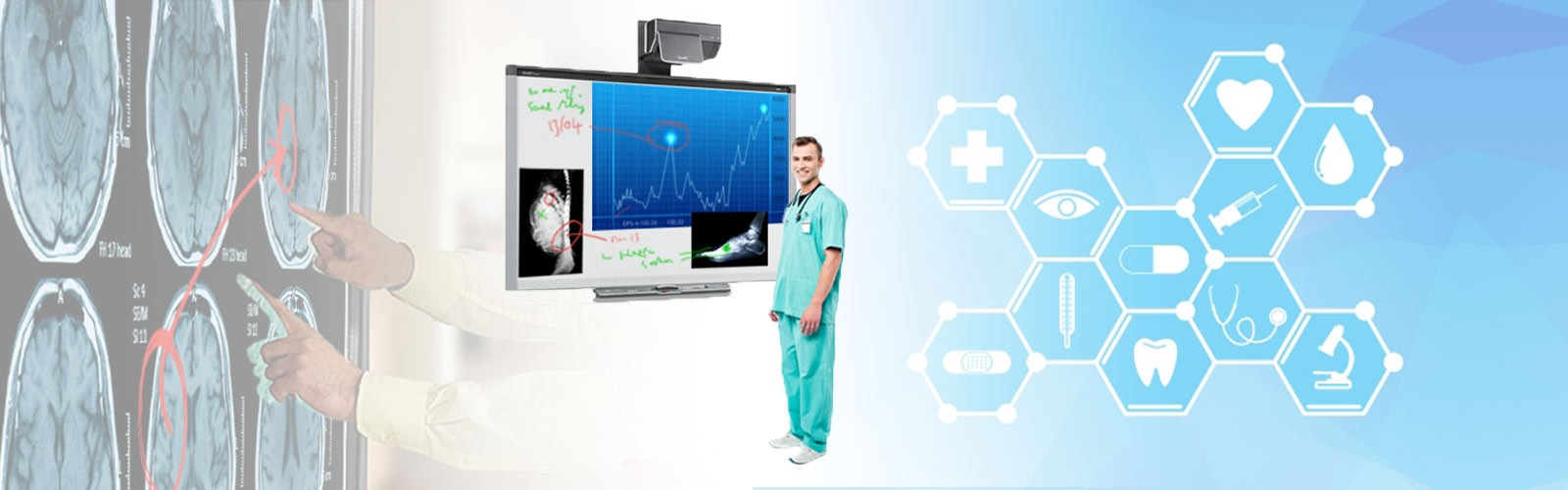 SMARTBoard and touch screen displays in hospitals and being used by a doctor