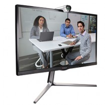 Polycom RealPresence Group Convene with Acoustic Camera on top and 3 people on display