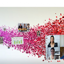 Video Conferencing and statistics in pink swirl