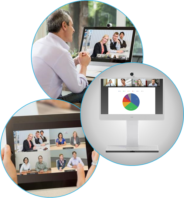 Cisco Collaboration Meeting Room Cloud CMR  on mobile, meeting room and desktop