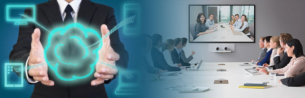 Business man holding onto Cloud fades into group of business people having video conference