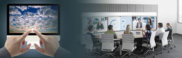 Cisco IX5000 telepresence system and cloud device with mans pointing hands
