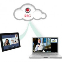 Cloud icon with record button, recording Video Conferencing meeting from a tablet and a laptop.