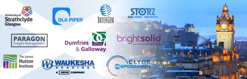 VideoCentric Video Conferencing Customers in Scotland, and sky view of Edinburgh