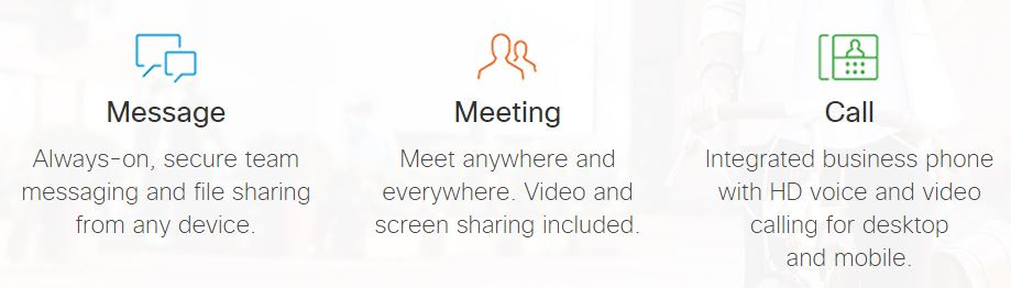 Cisco Spark features - Message, meeting, call