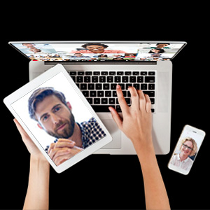 Tablet, mac and smartphone with Video faces
