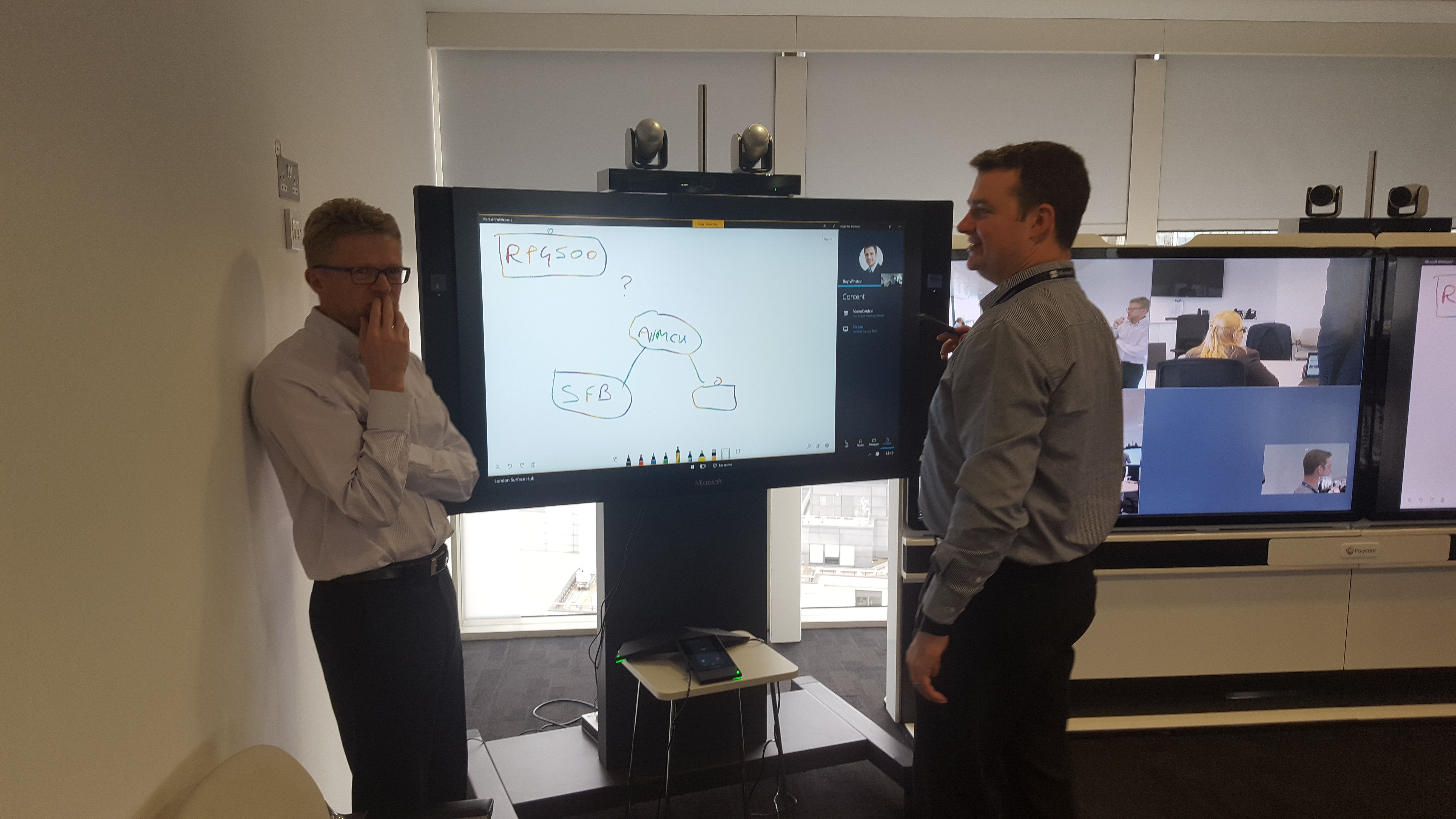 Polycom demonstrating Microsoft Surface Hub to VideoCentric