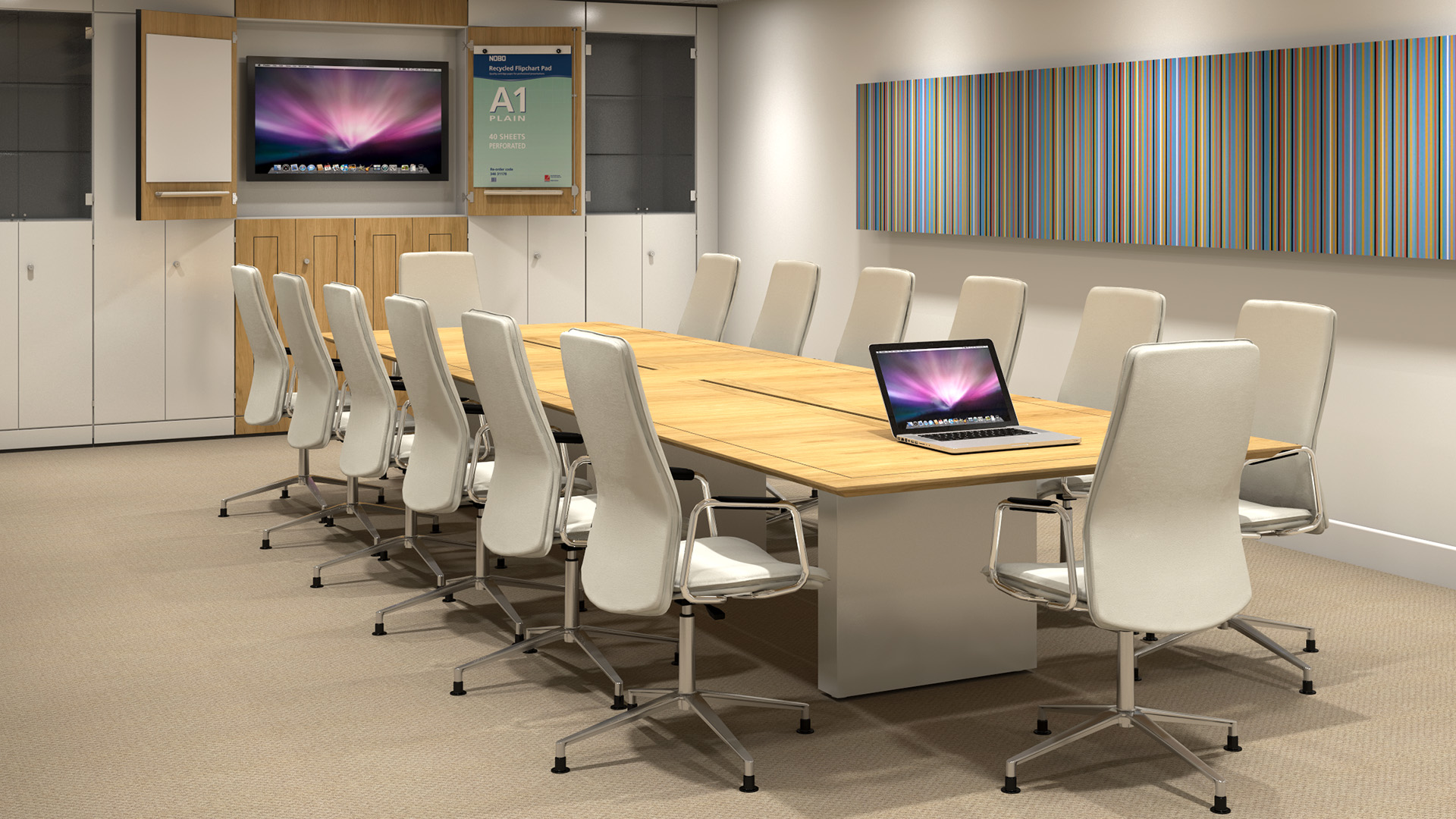 Sven Christiansen Boardroom Furniture with display and laptop