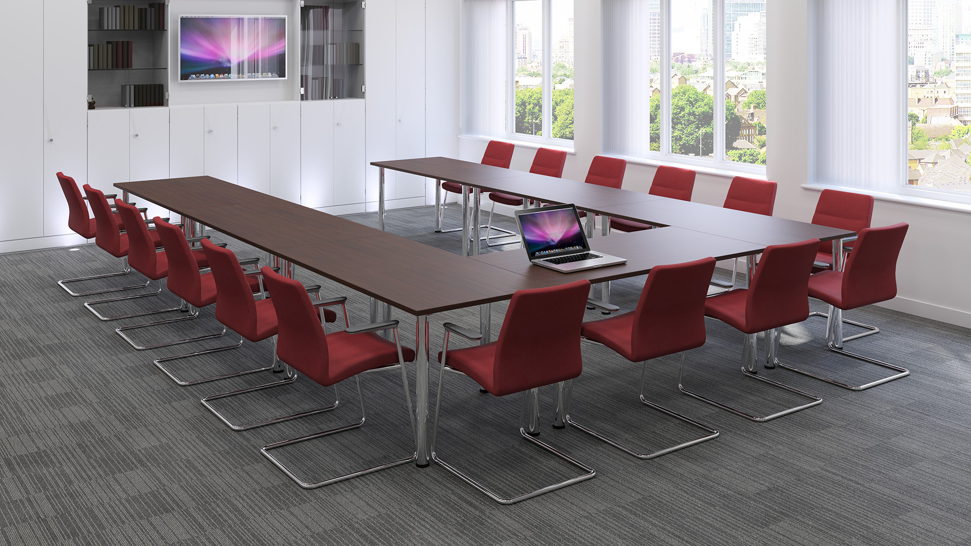 Sven Christiansen Meeting Room Furniture with display and laptop