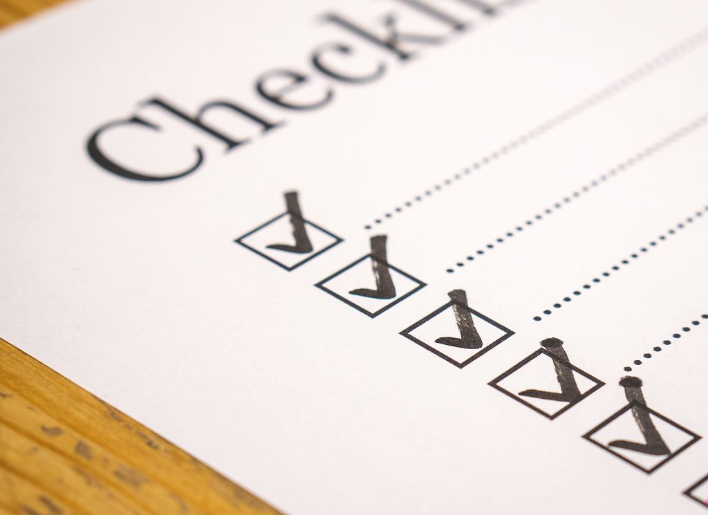 Checklist for evaluation