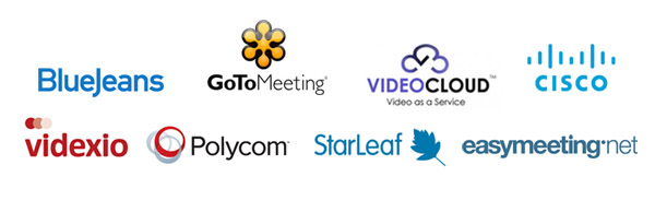 Cloud VMR providers Logos - BlueJeans GoToMeeting, VideoCloud, Videxio, Cisco, Easymeeting, Starleaf