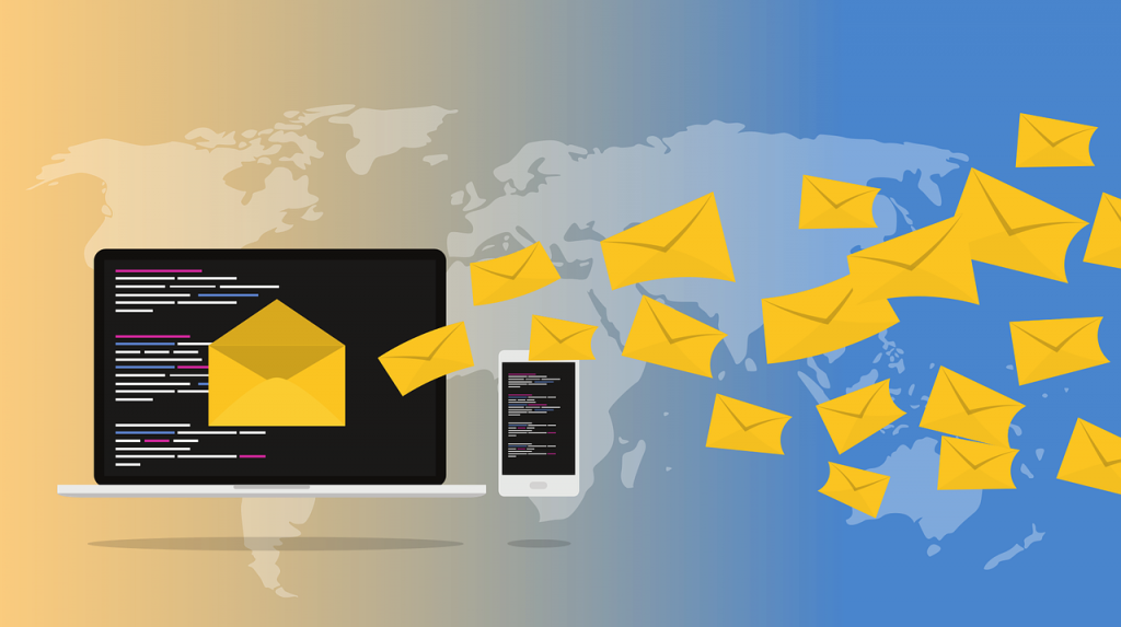 Vector of laptop and mobile with envelopes flying out