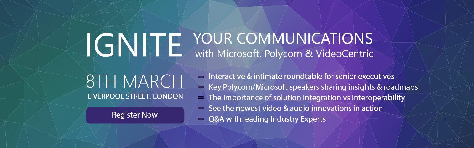 IGNITE UK Microsoft and Polycom integration day slider