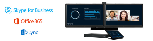 Skype for Business and Microsoft Logos with Crestron RL2 room system