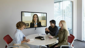 Poly Huddle Room Trio and Video Conferencing system with 4 participants