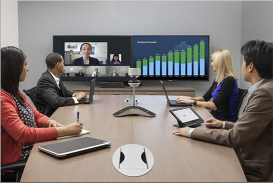 Polycom CX8000 in a meeting room with dual screen display