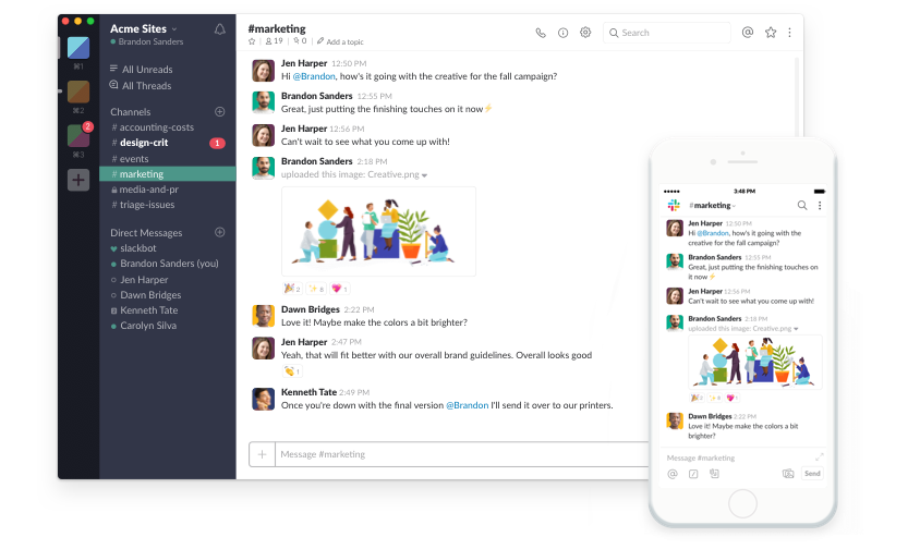 Slack on screen and mobile app