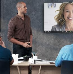 Video Conferencing Meeting with display