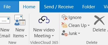 VideoCloud 365 screenshot of Outlook Plugin