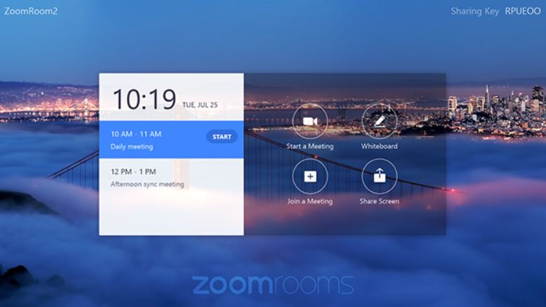 Zoom Rooms for Touch example display